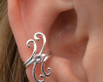 Swirl with CZ Ear Cuff - Sterling Silver or 14k Gold Vermeil