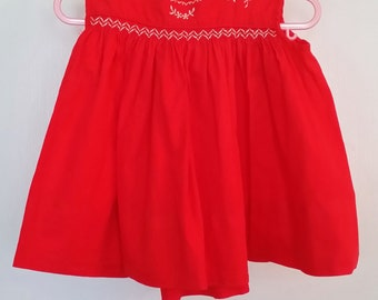 Red Smocked Sundress, Size 6-9 months