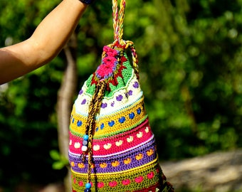 Funny hearts crochet multicolored country style backpack rucksack bag