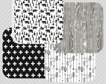 Bear Arrow Nursery Bedding -  Black and Grey - Nursery Bedding - Custom Baby Bedding