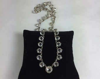 Czech Cone Back Crystal Riviere Collet Necklace