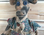primitive cow doll-spotted cow-prim folk art cow-barnyard-farmhouse decor-primitive farm animals-country cows-log home decor-prim cow