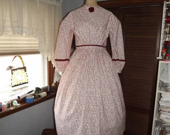 Girls Civil Size 14 War Dress Red and Cream Flowered Print Dress Reenacting Dress
