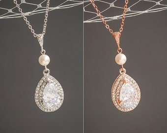 Pearl Bridal Necklace, Crystal Wedding Necklace, Rose Gold Teardrop Pendant Necklace, Sterling Silver Necklace, Swarovski Jewelry,ADAMIA