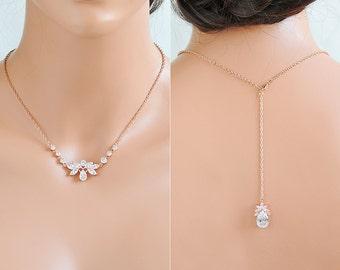 Wedding Jewelry SET, Back Drop Necklace, Rose Gold Bridal Necklace, Crystal Beckl Necklace,  Flower Leaf Backdrop Necklace Earring SET, LENA