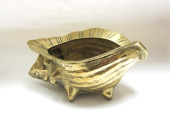 Vintage Brass Conch Sea Shell Planter Large