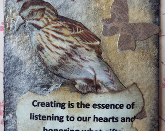 Mixed Media Watercolor Miniature Art Paintings Collage ACEO Trading Cards With Bird, Inspirational Quotes and Butterflies