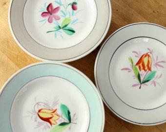 Vintage 1950's Hand Painted Floral Banded Salad Dessert Plates 5