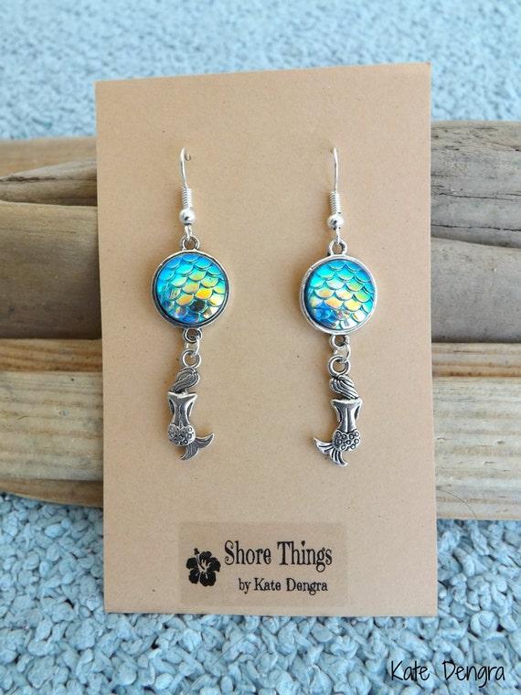 Iridescent Blue Mermaid Scale Dangle Earrings Ear Wire Fish Scale Shore Things by Kate Dengra Spain Beach Ocean Theme
