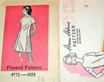 Vintage 1970s Anne Adams Mail Order Sewing Pattern 4772 A-Line Panel Dress Side Pleat Skirt Womens Miss Size 14 Bust 36 Uncut Factory Folds