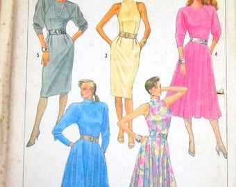 Vintage 1980s Easy Sewing Pattern Simplicity 7801, Fitted Raglan Sleeve Dress, Womens Misses Size 8 10 12 Bust 30 31 32 Uncut Factory Folds