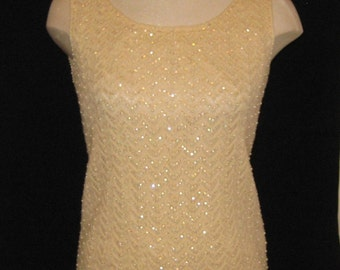 1960s Sequin Top Cream Knit Shell Beaded Top Vintage Beaded Top 60s Sparkly Top Cream Off White Sleeveless Top Beaded & Sequinned Knit Top