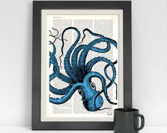 Summer Sale Art print Turquoise Octopus Dictionary art, wall art octopus Wall decor ctopus print, Wall octopus art, Octopus blue SEA061