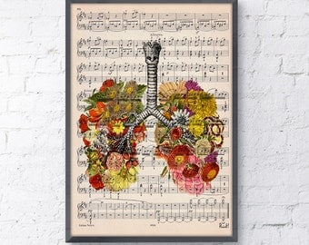 Lungs with flowers over music sheet Love gift aniversary gift, Music student gift, Girlfriend gift, music sheet SKA062MSL