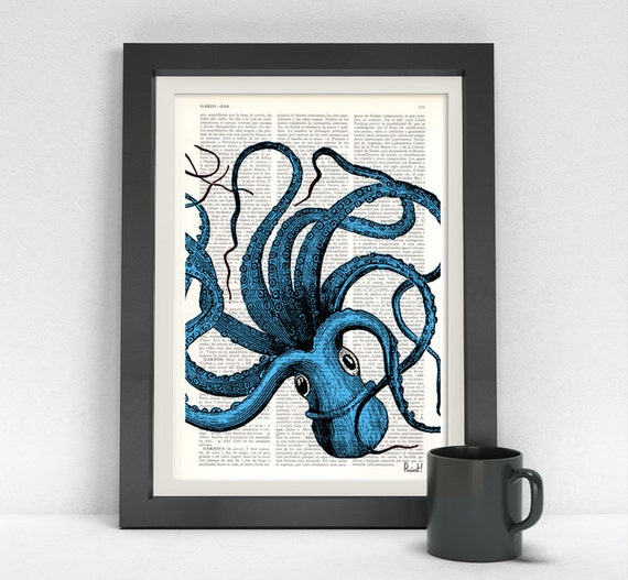 Christmas Sale Art print Turquoise Octopus Dictionary art, wall art octopus Wall decor ctopus print, Wall octopus art, Octopus blue SEA061