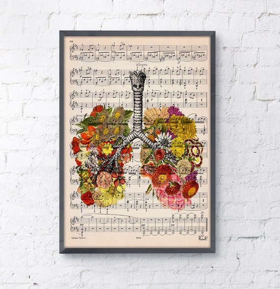 Summer Sale Lungs with flowers over music sheet Love gift aniversary gift, Music student gift, Girlfriend gift, music sheet SKA062MSL