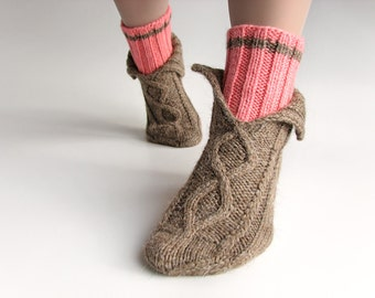EU Size 35-36 -  Nand Knitted Aran Socks - 100 % Natural Wool