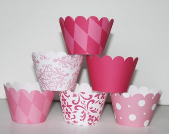 hot pink, Light Pink, Cupcake Wrappers, cupcake liner, wedding, bridal shower, baby shower, birthday party, girls first birthday