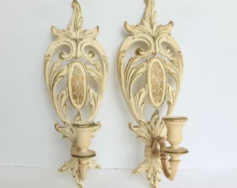 Syroco Wall Sconce Candle Holders 1962 Cream with Gold Trim Set of Two