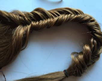 Clip in Fish Tail Braid Hair Extension Thick Long Brown Blonde Auburn Black Pony Tail Plait Fishtail Tie Fall Comb and Clip on 22 In Long