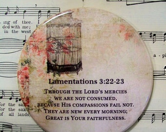 Scripture Magnet, Great is Your Faithfulness, Large Magnet, Lamentations 3:22-23, Housewarming Gift Magnet, Refrigerator Magnet