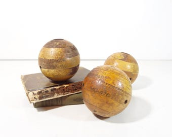 Vintage Wooden Balls / Industrial Wood Ball Mold / Industrial Decor