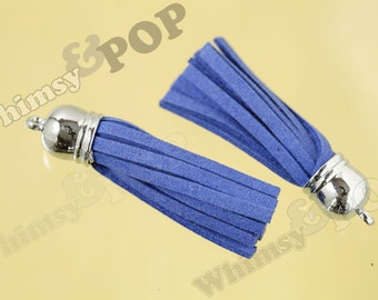 1 - Royal Blue Suede Tassel Findings, Silver Tone Tassels, 55mm - 65mm x 12mm (0-0)