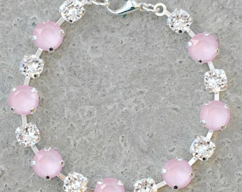 Pastel Pink Bridesmaids Bracelet Soft Pink Rhinestone Tennis Bracelet Swarovski Crystal Clear Diamond Bracelet Powder Rose Wedding Bride