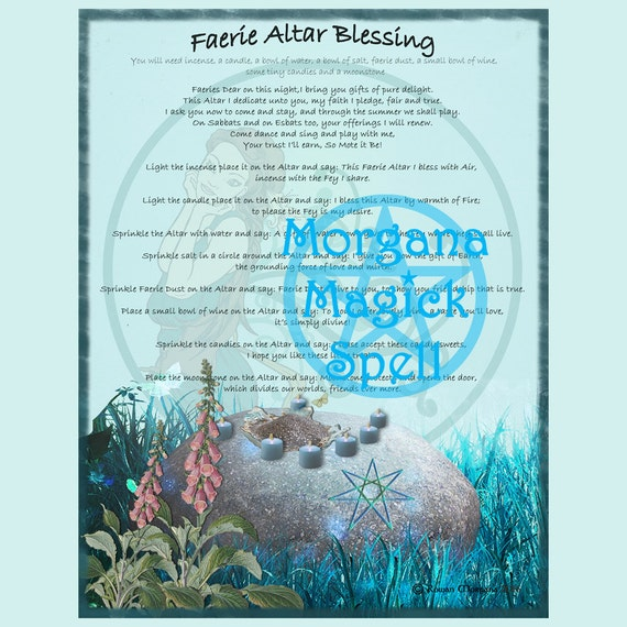 FAERIE ALTAR BLESSING, Digital Download, Dedication Spell, Faerie,  Book of Shadows Page, Grimoire, Scrapbook, Spells, Wicca, Witchcraft