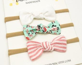 Baby Bow Headbands - Small Knot Bows - Baby Headbands or Clips - Set of Small Baby Bow -Mini Knot Bow Set -Newborn Bows -Small Bow Headbands