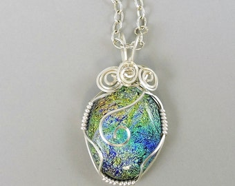 Wire Wrapped Necklace, Dichroic Glass Necklace, Dichroic Glass Jewelry, Green Blue Necklace