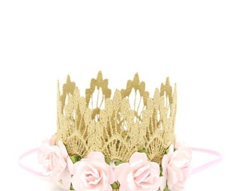 Ready to Ship || mini Sienna with palest pink flowers || gold lace crown headband ||