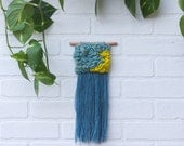 Mini Woven Wall Hanging | Abstract Weaving | Modern Tapestry in Soft Teal and Bright Chartreuse with Blue Fringe on Wood Dowel