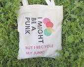 Market shopping bag, beach tote bag, vegan tote bag, reusable shopping bag, shopping tote, market tote, pink eco bag, punk tote bag
