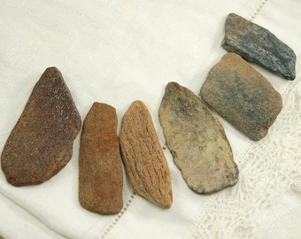 "6 flat fossilized bone sticks (1.5""-2.25"") (no.b34)"