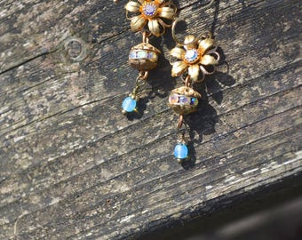 Golden Flower Earrings with Vintage Blue and Pink Swarovski Rhinestone Charms handmade bead and rhinestone jewelry gift