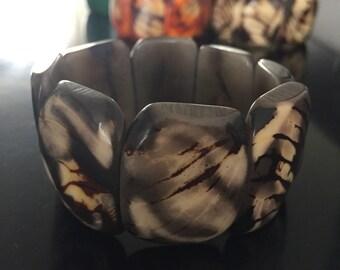 Black/Gray Tagua Bracelet - Eco-Friendly Jewelry