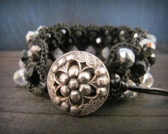 Bohemian Crochet Cuff Bracelet, Boho Gypsy Jewelry, Black beaded bracelet cuff