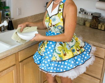 June Cleaver Lulu's Garden Pin Up Apron, Watercolor Floral, Cosplay 50's Housewife, Woman's Apron