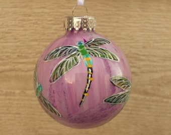 Hand painted Christmas Ornament, pink , purple dragonfly ornament 313