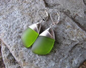 wine bottle sea glass ear rings cultured sea glass mossy green colored beach glass jewelry  earrings-bridesmaid earrings- teardrop  earrings