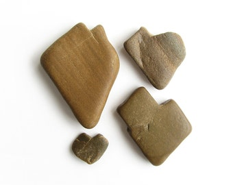 4 Heart Stones - Natural Beach Pebbles - Valentines Day Decor