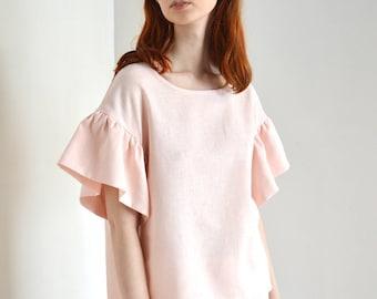 Pink linen ruffle top