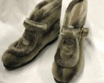 60s Faux Fur Booties