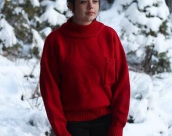Vintage 1980s // Red Eddie Bauer Wool Sweater with Mock-turtleneck