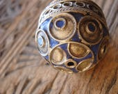 Enamel large Moroccan marjorelle blue tarnished focal bead