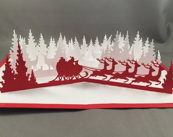 3D Christmas Card with Santa Sleigh Card | Christmas Pop Up Cards Funny Santa Card  | 3D Christmas Cards | Cute Christmas Cards | Xmas Card