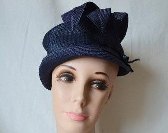 vintage 50's navy straw fancy summer hat