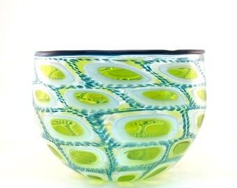 Green and Aqua Murrine Bowl (large)