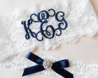 MONOGRAMMED Wedding Garter MONOGRAMMED Bridal Garter Floral Stretch Lace Bridal Garter Single Garter